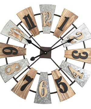 MODE HOME 24 Metal And Wood Windmill Wall Clocks Decorative 3D Vintage Clock Farmhouse Decor 0 300x360