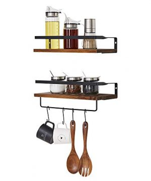 Micup Floating Shelves Wall Mounted Set Of 2 Rustic Wood Storage Shelf For Bathroom Bedroom Kitchen Living Room With Removable Hooks Dark Brown 0 4 300x360