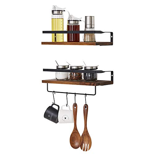 Micup Floating Shelves Wall Mounted Set Of 2 Rustic Wood Storage Shelf For Bathroom Bedroom Kitchen Living Room With Removable Hooks Dark Brown 0 4