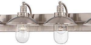 Minka Lavery Farmhouse Wall Light Fixtures 5134 84 Downtown Edison Glass Bath Vanity Lighting 4 Light Nickel 0 300x150