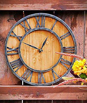 ModiVerza 18 Large Wall Clock Farmhouse Style Natural Wood Quartz Vintage Metal Trim Rustic Kitchen Decor Battery Powered Home Decor Barn Noiseless Big Wall Clock Shiplap 0 0 300x353