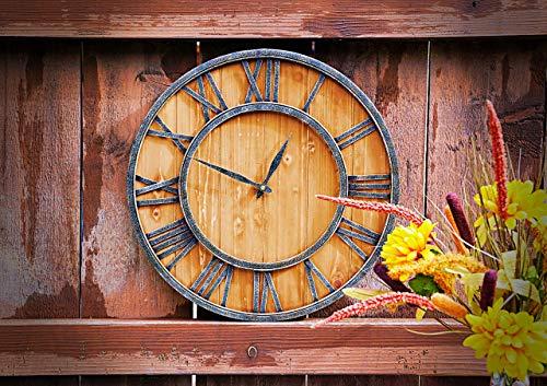ModiVerza 18 Large Wall Clock Farmhouse Style Natural Wood Quartz Vintage Metal Trim Rustic Kitchen Decor Battery Powered Home Decor Barn Noiseless Big Wall Clock Shiplap 0 0