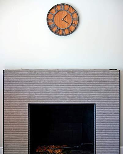 ModiVerza 18 Large Wall Clock Farmhouse Style Natural Wood Quartz Vintage Metal Trim Rustic Kitchen Decor Battery Powered Home Decor Barn Noiseless Big Wall Clock Shiplap 0 2