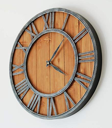 ModiVerza 18 Large Wall Clock Farmhouse Style Natural Wood Quartz Vintage Metal Trim Rustic Kitchen Decor Battery Powered Home Decor Barn Noiseless Big Wall Clock Shiplap 0