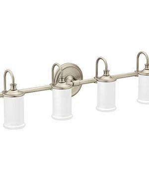 Moen YB6464BN Belfield 4 Light Dual Mount Bath Bathroom Vanity Fixture With Frosted Glass Brushed Nickel 0 300x360