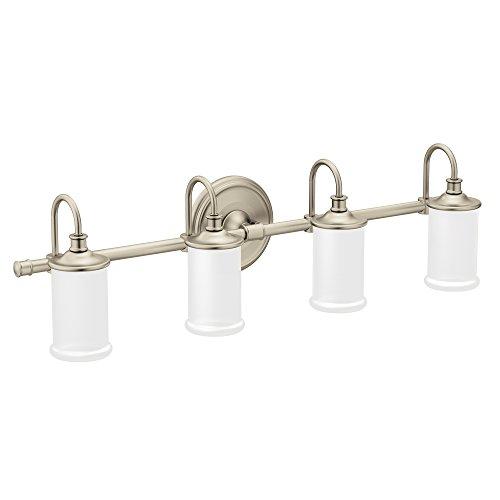 Moen YB6464BN Belfield 4 Light Dual Mount Bath Bathroom Vanity Fixture With Frosted Glass Brushed Nickel 0