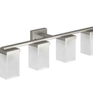 Moen YB8864BN 90 Degree 4 Light Dual Mount Bath Bathroom Vanity Fixture With Frosted Glass Brushed Nickel 0 300x360