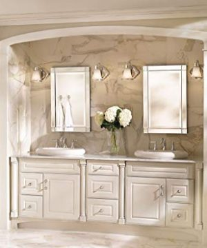 Moen YB9864BN Waterhill 4 Light Dual Mount Bath Bathroom Vanity Fixture With Frosted Glass Brushed Nickel 0 3 300x360
