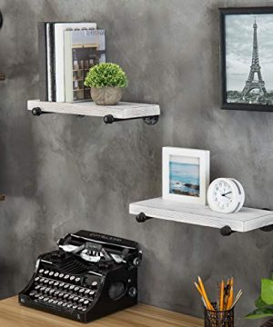 MyGift 16 Inch Rustic White Wood Wall Mounted Shelves With Black Metal Pipe Brackets 0 0 300x360