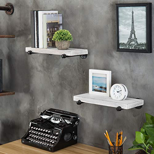 MyGift 16 Inch Rustic White Wood Wall Mounted Shelves With Black Metal Pipe Brackets 0 0