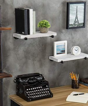 MyGift 16 Inch Rustic White Wood Wall Mounted Shelves With Black Metal Pipe Brackets 0 2 300x360