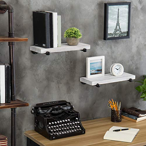 MyGift 16 Inch Rustic White Wood Wall Mounted Shelves With Black Metal Pipe Brackets 0 2