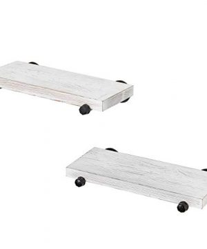 MyGift 16 Inch Rustic White Wood Wall Mounted Shelves With Black Metal Pipe Brackets 0 3 300x360