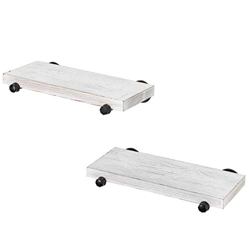 MyGift 16 Inch Rustic White Wood Wall Mounted Shelves With Black Metal Pipe Brackets 0 3