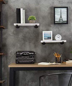 MyGift 16 Inch Rustic White Wood Wall Mounted Shelves With Black Metal Pipe Brackets 0 4 300x360