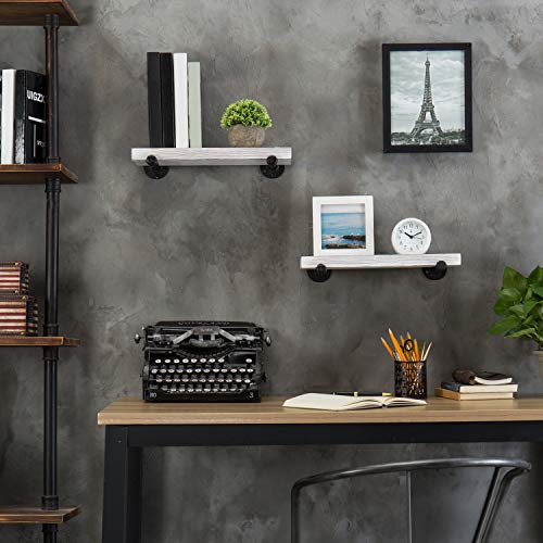 MyGift 16 Inch Rustic White Wood Wall Mounted Shelves With Black Metal Pipe Brackets 0 4
