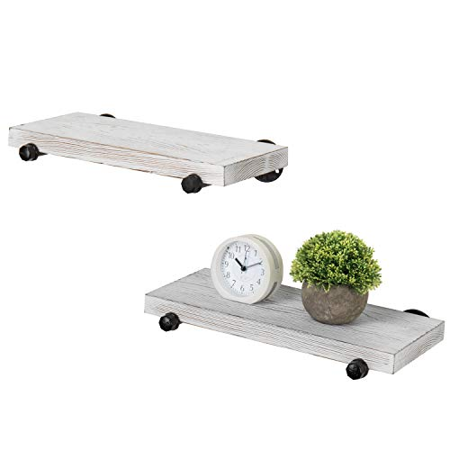 MyGift 16 Inch Rustic White Wood Wall Mounted Shelves With Black Metal Pipe Brackets 0