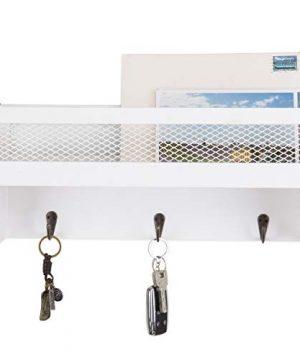 MyGift 16 Inch White Wood Wall Mounted Shelf With Key Hooks 0 0 300x360