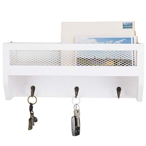 MyGift 16 Inch White Wood Wall Mounted Shelf With Key Hooks 0 0