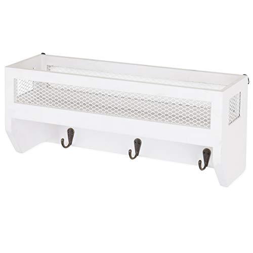 MyGift 16 Inch White Wood Wall Mounted Shelf With Key Hooks 0 1