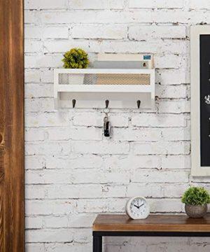 MyGift 16 Inch White Wood Wall Mounted Shelf With Key Hooks 0 2 300x360