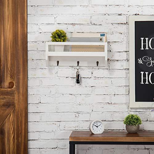 MyGift 16 Inch White Wood Wall Mounted Shelf With Key Hooks 0 2