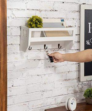 MyGift 16 Inch White Wood Wall Mounted Shelf With Key Hooks 0 3 300x360