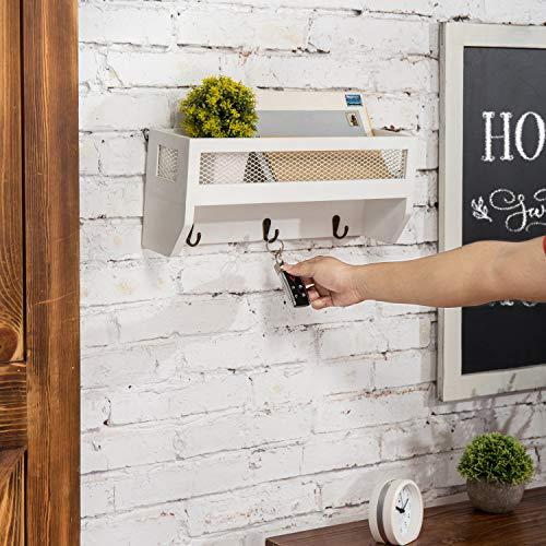 MyGift 16 Inch White Wood Wall Mounted Shelf With Key Hooks 0 3