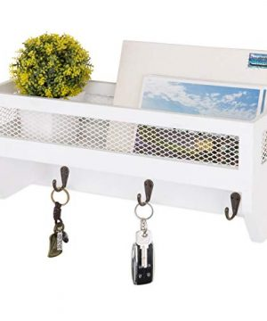 MyGift 16 Inch White Wood Wall Mounted Shelf With Key Hooks 0 300x360