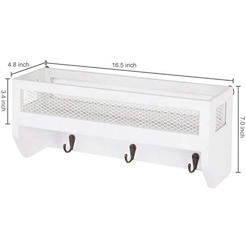 MyGift 16 Inch White Wood Wall Mounted Shelf With Key Hooks 0 4