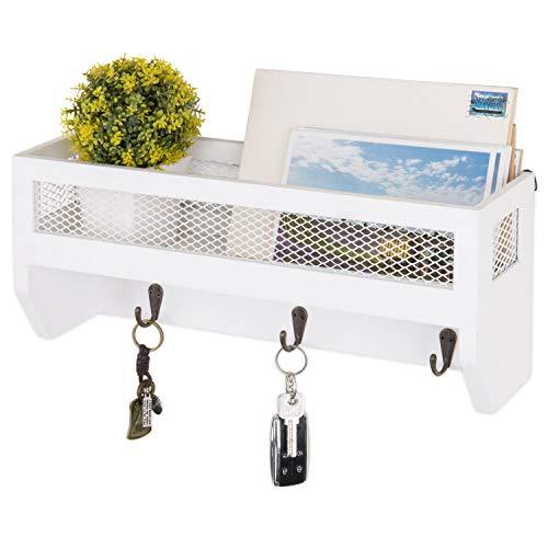 MyGift 16 Inch White Wood Wall Mounted Shelf With Key Hooks 0