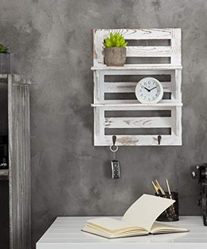 MyGift 2 Tier Rustic Whitewashed Wood Wall Mounted Shelf Rack With Key Hooks 17 X 13 Inches 0 0 300x360