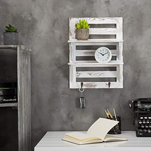 MyGift 2 Tier Rustic Whitewashed Wood Wall Mounted Shelf Rack With Key Hooks 17 X 13 Inches 0 0