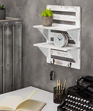 MyGift 2 Tier Rustic Whitewashed Wood Wall Mounted Shelf Rack With Key Hooks 17 X 13 Inches 0 1 300x360