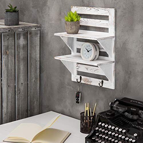 MyGift 2 Tier Rustic Whitewashed Wood Wall Mounted Shelf Rack With Key Hooks 17 X 13 Inches 0 1