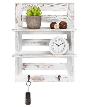 MyGift 2 Tier Rustic Whitewashed Wood Wall Mounted Shelf Rack With Key Hooks 17 X 13 Inches 0 2 300x360