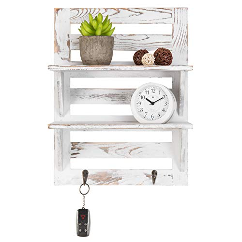 MyGift 2 Tier Rustic Whitewashed Wood Wall Mounted Shelf Rack With Key Hooks 17 X 13 Inches 0 2