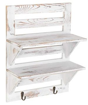 MyGift 2 Tier Rustic Whitewashed Wood Wall Mounted Shelf Rack With Key Hooks 17 X 13 Inches 0 3 300x360