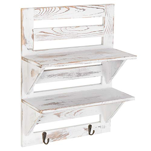 MyGift 2 Tier Rustic Whitewashed Wood Wall Mounted Shelf Rack With Key Hooks 17 X 13 Inches 0 3