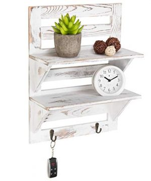 MyGift 2 Tier Rustic Whitewashed Wood Wall Mounted Shelf Rack With Key Hooks 17 X 13 Inches 0 300x360