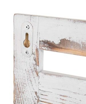 MyGift 2 Tier Rustic Whitewashed Wood Wall Mounted Shelf Rack With Key Hooks 17 X 13 Inches 0 4 300x360