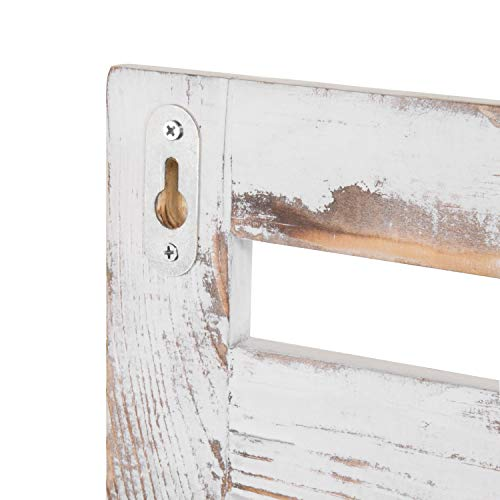 MyGift 2 Tier Rustic Whitewashed Wood Wall Mounted Shelf Rack With Key Hooks 17 X 13 Inches 0 4