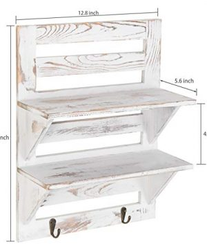 MyGift 2 Tier Rustic Whitewashed Wood Wall Mounted Shelf Rack With Key Hooks 17 X 13 Inches 0 5 300x360