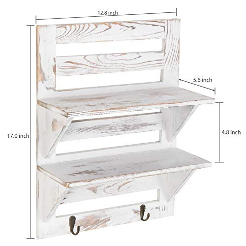 MyGift 2 Tier Rustic Whitewashed Wood Wall Mounted Shelf Rack With Key Hooks 17 X 13 Inches 0 5