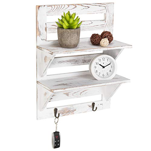 MyGift 2 Tier Rustic Whitewashed Wood Wall Mounted Shelf Rack With Key Hooks 17 X 13 Inches 0
