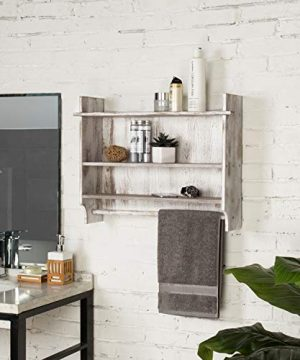 MyGift 3 Shelf Whitewashed Wall Mounted Bathroom Organizer Rack With Towel Bar 0 0 300x360