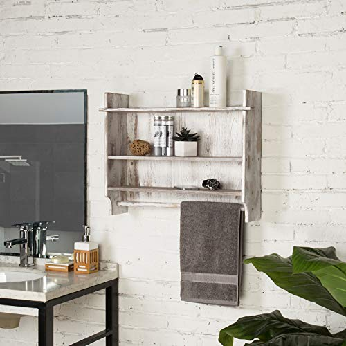 MyGift 3 Shelf Whitewashed Wall Mounted Bathroom Organizer Rack With Towel Bar 0 0