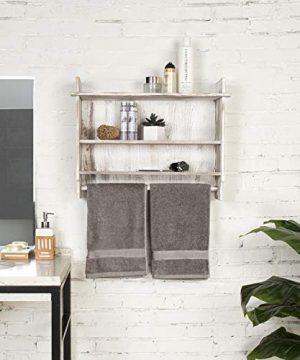 MyGift 3 Shelf Whitewashed Wall Mounted Bathroom Organizer Rack With Towel Bar 0 1 300x360