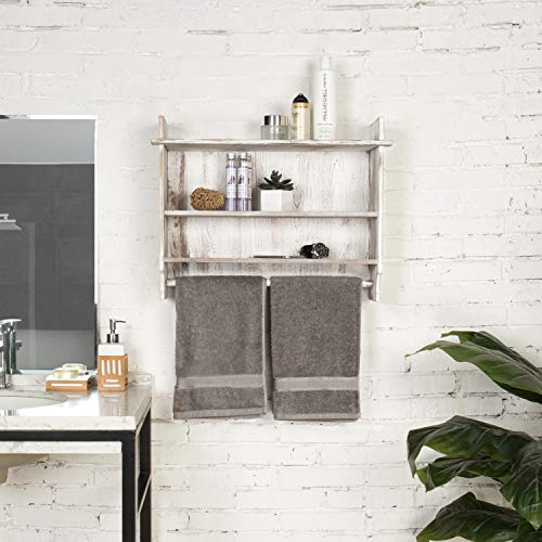 MyGift 3 Shelf Whitewashed Wall Mounted Bathroom Organizer Rack With Towel Bar 0 1