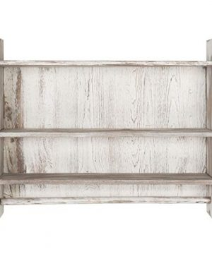 MyGift 3 Shelf Whitewashed Wall Mounted Bathroom Organizer Rack With Towel Bar 0 3 300x360